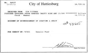 Timm Pittman Restitution receipt